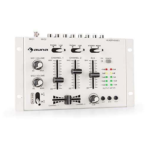 auna TMX-2211 MKII DJ-Mixer Mischpult, 3/2-Kanal, 2 x 6,3-mm-Mic-In, 2 x RCA-LineIn mit Phono-Switch, RCA-AuxIn, Crossfader, Talkover Funktion, Kopfhörer-Ausgang mit Cue Funktion, Rack-Einbau, weiß