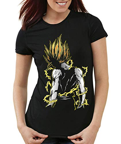 style3 Goku Pop-Art Power T-Shirt Femme Ball z, Couleur:Noir, Taille:S