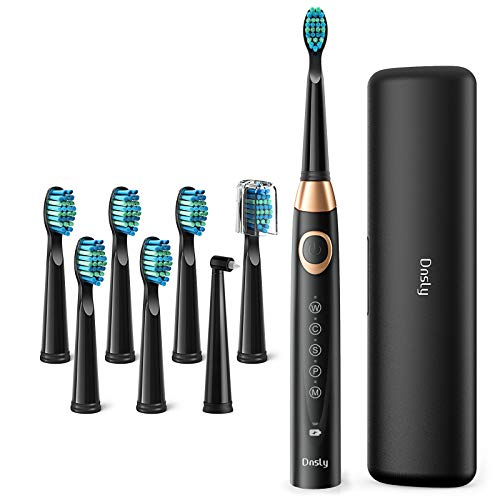 Electric Toothbrush Powerful Sonic Cleaning, Dnsly Whitening Toothbrushes with Smart Timer, 5 Modes, 8 Brush Heads & A Travel Case, Dentist Recommended Rechargeable Sonic Toothbrushes Black