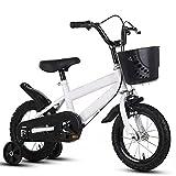 ZEMENG Bicicleta para niños, Bicicleta para niños con Estilo Libre con Ruedas de Entrenamiento Adecuada para niños y niñas,Blanco,16'