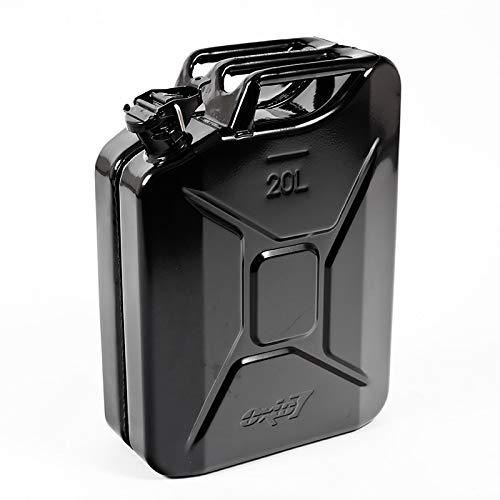 Oxid7 Benzinkanister Kraftstoffkanister Metall 20 Liter Schwarz mit UN-Zulassung - Bauart geprüft - für Benzin und Diesel