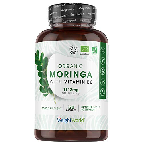 Bio Moringa Oleifera Orgánica Pura Alta Dosis 1112 mg 120 Cápsulas - Fuente de Vitaminas, Minerales y Antioxidantes, Moringa Cápsulas Pura Enriquecida Con Vitamina B6, Suministro para 2 Meses