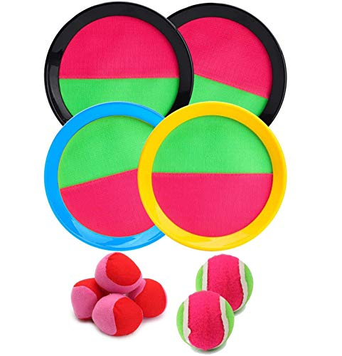 BEYUMI Paddle Catch Ball Set Wurf- und Catch Ball-Spielset 4 Klettverschluss verstellbares Selbstklebepaddel 6 Bälle mit Aufbewahrungstasche für Outdoor-Aktivitäten (10 Packs)
