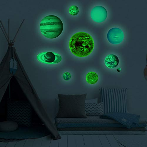 Luminous Planets PVC Wall Stickers Glow In Dark Planets Bedroom Wall Decal Home & Garden Home Decor