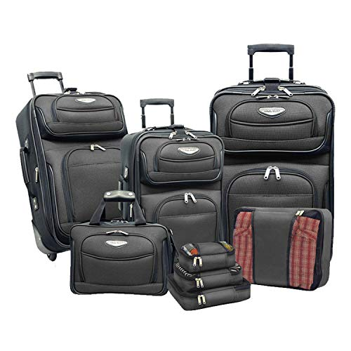 Travel Select Amsterdam Expandable Rolling Upright Luggage, Gray, 8-Piece Set