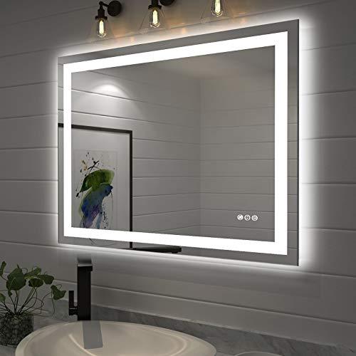 Wandspiegel Badezimmerspiegel Badspiegel mit LED Beleuchtung 70x90cm mit Touch Schalter und Beschlagfrei, Badezimmerspiegel Dimmbar 3000-6000K Hintergrundbeleuchtung und Vorderes Licht