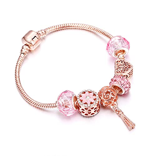 CXWK Pulsera de Oro Rosa, Flor de Cerezo, Bola de Borla, Colgante de Cuentas de Cristal, Pulseras con dijes, brazaletes para Mujer, joyería, Regalos para niñas