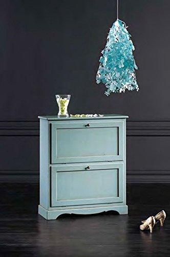 Legno&Design Meuble à Chaussures 2 abattants Color Bleu Vieilli Art Pauvre