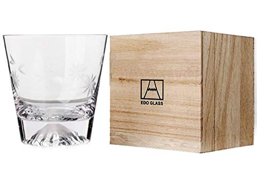 【morning place】 富士山 グラス タンブラー ロック 伝統的 木箱入り 結婚祝い プレゼント に (桜富士)