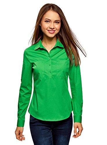 oodji Ultra Mujer Camisa Básica con Bolsillos en el Pecho, Verde, ES 34 / XXS