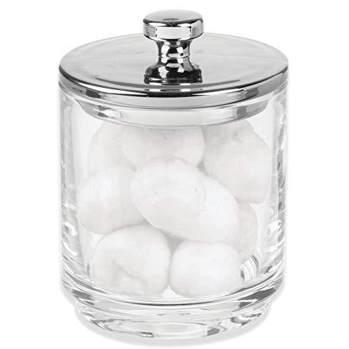 mDesign Kosmetik Aufbewahrungsglas – Glasbehälter mit Deckel zur trockenen Aufbewahrung von Badesalz, Wattepads etc. – Kosmetik Organizer für den Waschtisch – durchsichtig und silberfarben