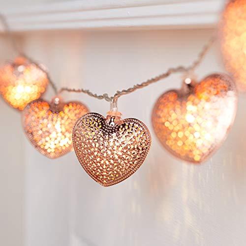 Lights4fun Rose Gold Metal Mesh Heart String Lights 20 Warm White LEDs Plug in Timer 2.85m Indoor Use