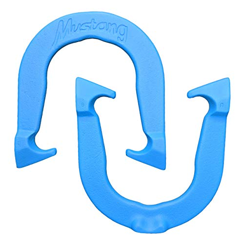 Mustang Professional Pitching Horseshoes- Made in The USA (Blue- Single Pair (2 Shoes))