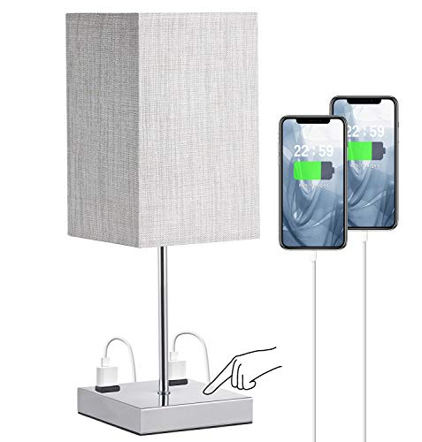 Bedroom Table Lamp, Doowo Small Table Lamp for Bedroom Nightstand, 3 Way Dimmable Touch Lamp, Charging Outlets, 17.5in Height Night Table Lamp for Living Room, Bedside, Dorm Room, Bulb Included
