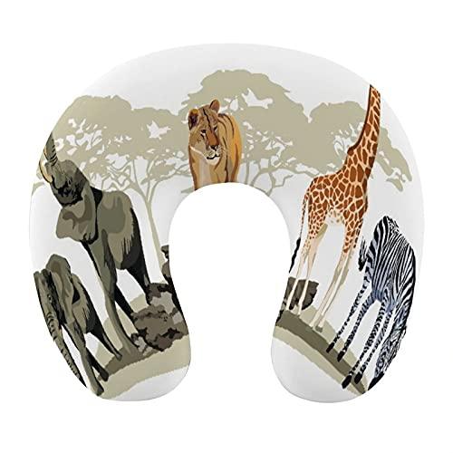 CIKYOWAY Almohada Viaje,Ilustración de sabanas salvajes Animales africanos Jirafa exótica León Elefante Cebra,Espuma de Memoria cojín de Cuello,Almohadas de Acampada,Soporte de Cuello para Viaje Coche