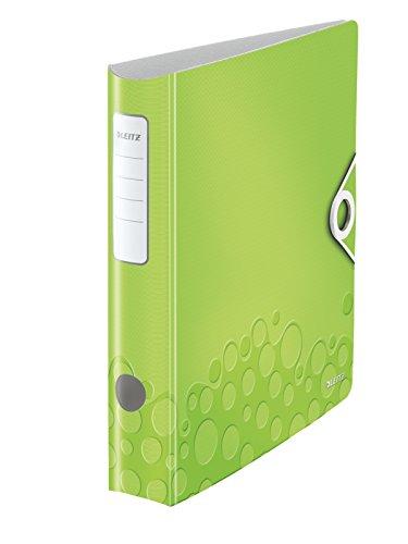 Leitz 11070064 Multifunktions-Ordner (A4, Runder Rücken (6, 5 cm Breite) Gummibandverschluss, Kunststoff, WOW) grün metallic