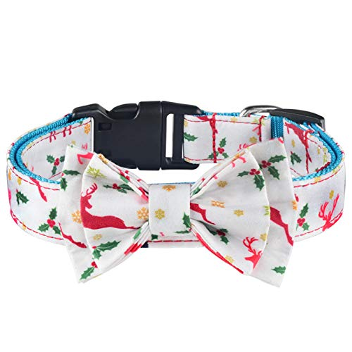 Yuan Ou Collar de Perro Collar de Perro y Tela de Campana Pajarita para Cachorro Mascota Ajustable L40-65cm Blanco