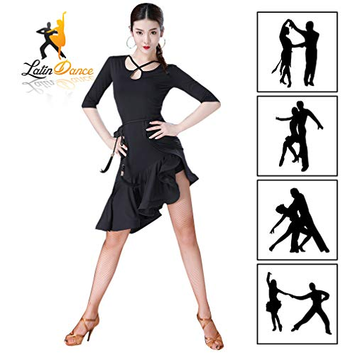 YIXIJIE Vrouwen Latijnse Dans Jurk, Zwart Latijn Tango Cha Cha Dans Jurk Kostuums, Dames Prestatie Stage Oefening Een Stuk Kleding, Ballroom Salsa Samba Tango Cocktail Jurken