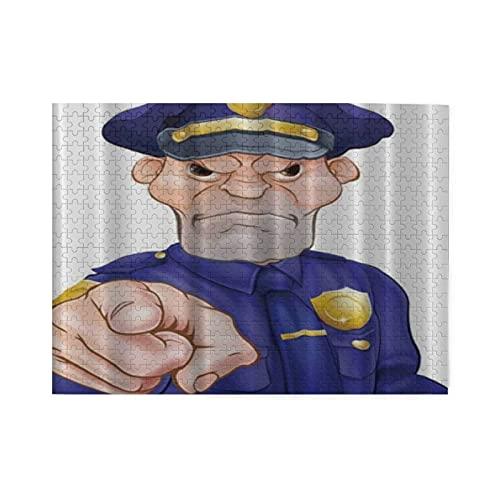 HASENCIV 500 Piezas Rompecabezas Rompecabezas Oficial de policía señalando Enojado Familia Educativo Intelectual Descompresión Diversión para Adultos Jovenes y Familias