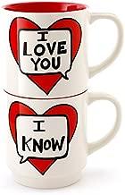 Enesco 4056350 I I Love You I Know Stacking Stoneware Mug Set, 12 oz, Red