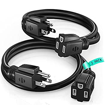 Extension Cord 3 Ft Black Power Cords Indoor / Outdoor 16 Gauge Wire Heavy Duty ETL Listed  3Ft 2 Pack