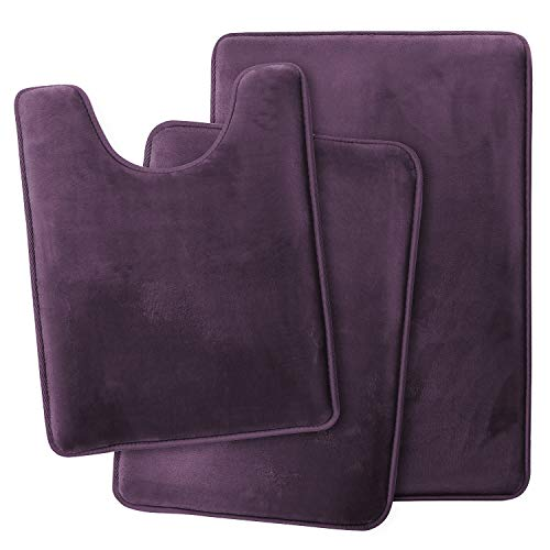 Clara Clark Memory Foam Bath Mat Ultra Soft Non Slip and Absorbent Bathroom Rug, Set of 3 - Small/Large/Contour - Dark Purple