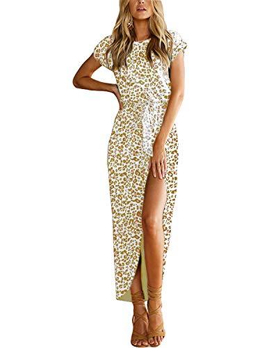 YOINS Sommerkleid Damen Lang Maxikleider für Damen Strandkleid Sexy Kleid Kurzarm Jerseykleider Strickkleider Rundhals mit Gürtel Leopard-Hellrosa L