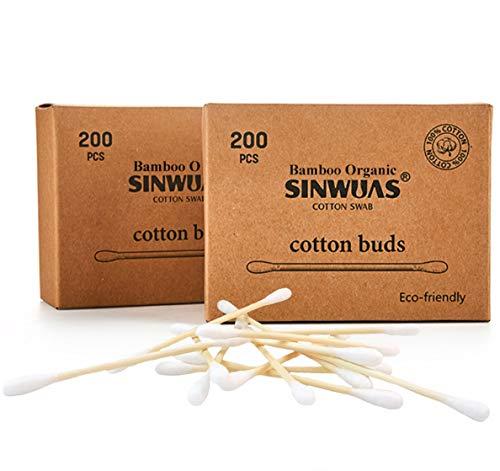 Boîte de 200 cotons-tiges en bambou 100 % biodégradable en bois bio sans plastique Emballage écologique