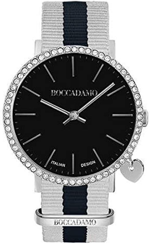 Boccadamo,orologio per donna,cassa in metallo,cinturino in nylon,lunetta con cristalli swarovski My012