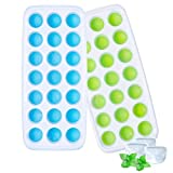 Ozera Ice Cube Trays with Lids, 2 Pack Silicone Ice Tray with Lid, Easy-Release Ice Trays Stackable 42 Ice Cubes (Blue & Green)