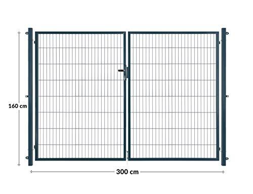 Arvotec dubbele deur/dubbel vleugeldeur, antraciet, 200x50, BxH: 2x1500x1600mm - volledig opstelklaar met palen en bevestigingsmateriaal - met bijpassende aansluitstukken voor staafmattenhek
