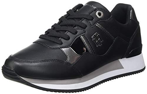 Tommy Hilfiger TH Interlock City Sneaker, Zapatillas Mujer, Black, 39 EU