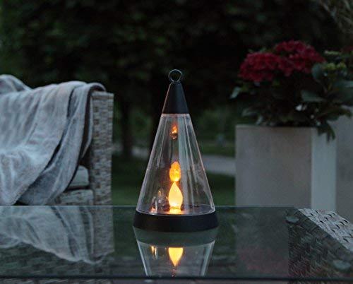 Kamaca LED Solar Windlicht Laterne PISA 3 Funktionen : Gartenstab Tischlaterne Hängelaterne Dämmerungssensor Solarleuchte mit LED Flamme Kerze flackernd (Solar Laterne Pisa 3 Funktionen)