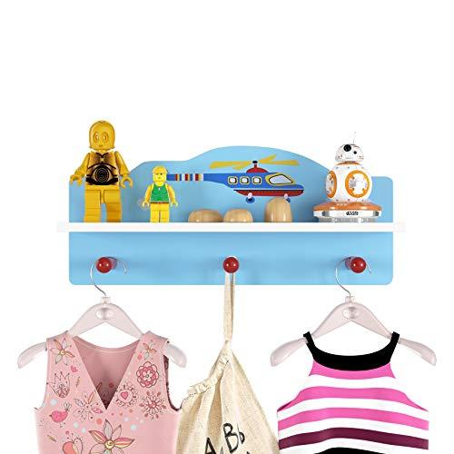 Homfa Kindergarderobe mit 3 Haken und 1 Fächer Wandregal Wandgarderobe für Kinder Garderobenhaken Wandhaken Kleiderhaken für Kinderzimmer Hubschrauber 45.5x11.5x19.5 cm