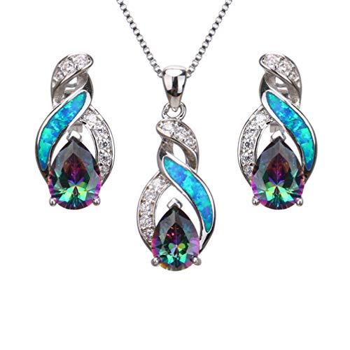 Hermosa Jewelry Sets Australian Opal Blue Sapphire Necklace Earrings (JS9)