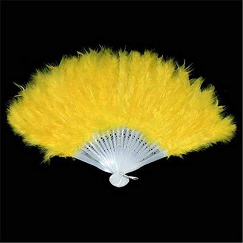 Markcur Abanico plegable para Halloween, show Requisitos, abanico de plumas, abanico plegable, ideal como disfraz de boda, color amarillo