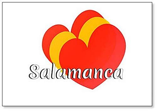 Elementos en forma de corazón con los colores de la bandera nacional de España con inscripción: imán para nevera Salamanca