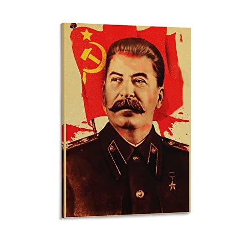 Kunstdruck auf Leinwand, Motiv Stalin mit kommunistischer Flagge, 60 x 90 cm