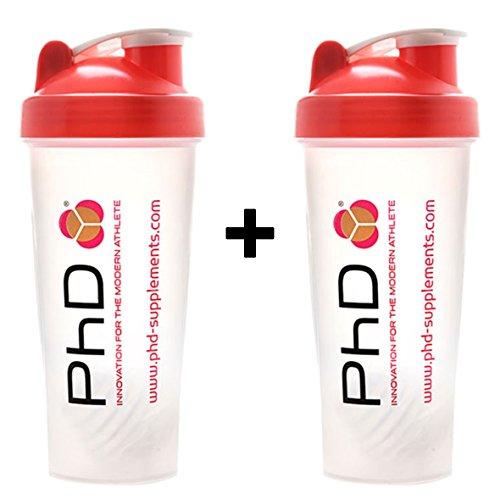 PhD Nutrition - Vaso mezclador de proteínas de plástico para suplemento de proteínas, mezclador de acero inoxidable y jarra de botella de agua de 2 litros (2 x cocteleras de plástico)