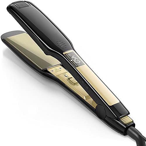 Professional Flat Iron Hair Straightener, 1.75 inch Wide Black Plate Straightener for Thick Hair, Instant Heat Up.