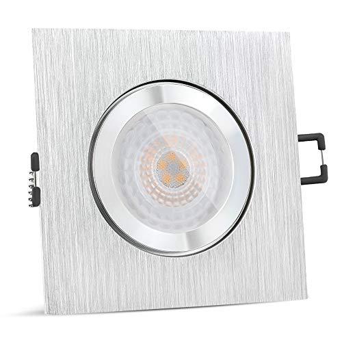 SSC-LUXon QW-2 LED Einbaustrahler flach IP44 in Alu gebürstet - mit fourSTEP Leuchtmittel 'Dimmen ohne Dimmer' 5W warmweiß