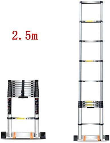 HAMIMI échelle Pliante Accueil télescopique montée et Chute d'ingénierie épaississeHommest en Aluminium d'échelle Droite portable escabeau échelle (Taille    2.5m)