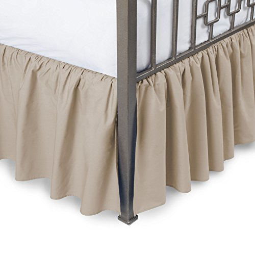 Ruffled Bed Skirt with Split Corners - Full, Camel, 18 Inch Drop Cotton Blend Bedskirt (Available in and 16 Colors) - Blissford Dust Ruffle.