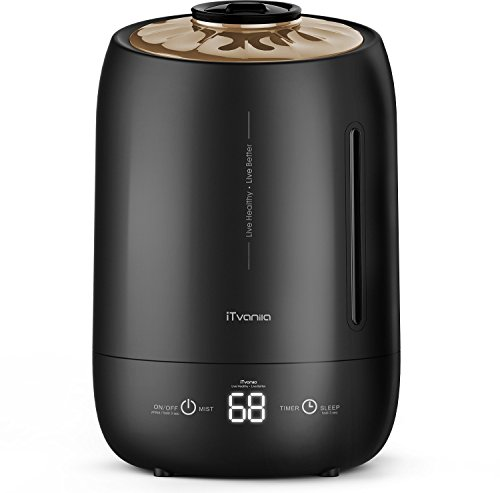 iTvanila Cool Mist Humidifiers, Ultrasonic Humidifiers, Air Humidifiers 5L Large Water Tank for Baby,Bedroom,Living Room,Office,Auto-Off Whisper Quiet (Black)
