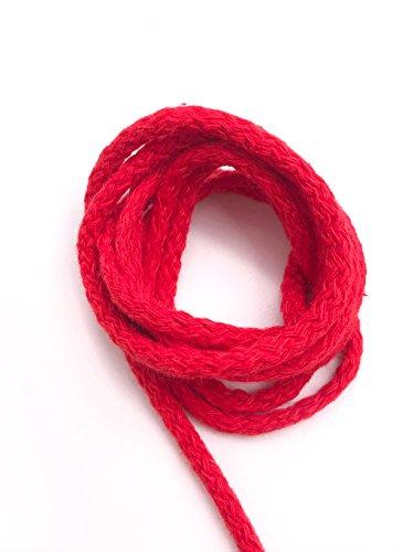 Slantastoffe 5m Baumwollkordel 5mm, Kordel, Schnur, Turnbeutel, 21 Farben (Rot)