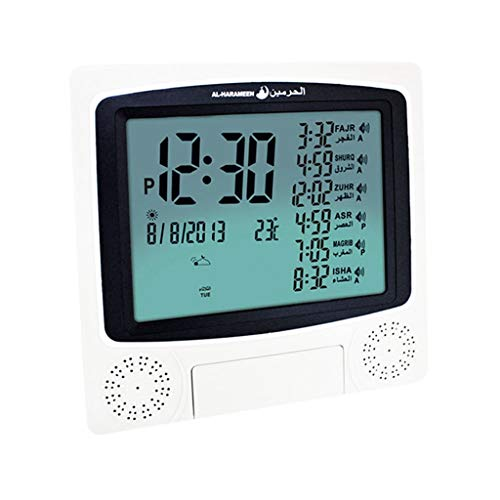 Azan Wecker, islamische Gebetsglocke, Uhr muslimischer Moschee digitales Gebet Wecker, LCD-Bildschirm zu Hause, Moschee, Ramadan Geschenk Azan,Grau