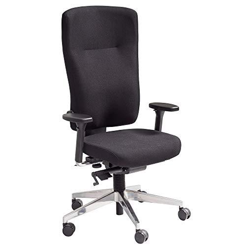 FineBuy Bürostuhl Stoff Schwarz ergonomischer Profi Schreibtischstuhl höhenverstellbar | Chefsessel mit gebremsten Hartboden-Rollen | Drehstuhl Büro Modern