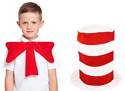 Kids Boys Cat in the Hat Gloves & Bow Tie Book Week Dr Seuss Fancy Dress Costume (Hat+Bow)