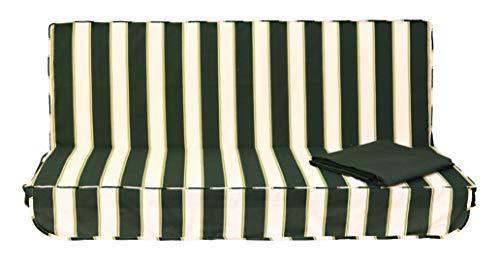 Stiliac 9411T312 Set Cuscini Ricambio per dondolo 3 posti, Rigato Bianco/verde, 150x55x6 cm
