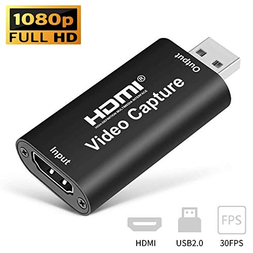 HDMI USB Video Audio Capture Card HD 1080P Video Record via DSLR,Camcorder,Action Cam for High Definition Acquisition, Live Broadcasting, Live Streaming (Black)